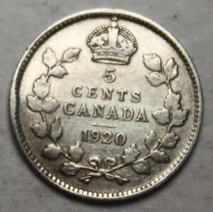 Canada 1920 Silver 5 Cents, Old Date KGV (5a)