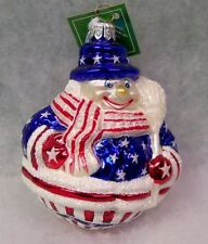 New Retired 2002 Slavic Treasures - Roly Poly Snowman (Patriotic)