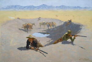 Frederic Remington Fight for the Waterhole Poster Giclee Canvas Print