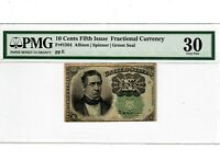 10 Cents FR 1264 Fractional Currency Green Seal SCARCE PMG VF 30 Meredith 2011