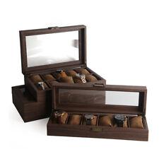 6/10/12 slot Watch Box Display Case Organizer Wood Grain Leather Jewelry Holder