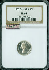 1955 CANADA 10 CENTS NGC PL-67 ONLY 1 FINER MAC SPOTLESS .