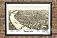 Old Map of Homestead, PA from 1902 - Vintage Pennsylvania Art, Historic Decor