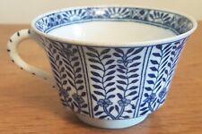 Ancienne Tasse Chine Blanc bleu octogonale fleurs et signature cachet bleu