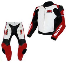 SUZUKI GSXR RACING MOTORCYCLE LEATHER SUIT MENS MOTORBIKE LEATHER JACKET TROUSER