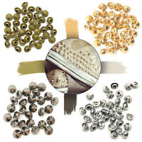 Brass Spike Cone Studs Punk Rivets with Pins for DIY Crafts Clothes Shoes 100pcs