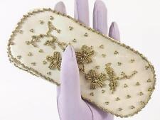 Hong Kong Gold Hand Beaded Vtg Ivory Satin Eyeglass Reading Glasses Dressy Case