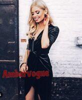 ZARA BLACK VELVET CROSSOVER  DRESS SIZE L UK 12