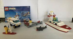 Vintage LEGO #1721 (Incomplete) Marina, Boat, Windsurfer, Van, Dock, Shark