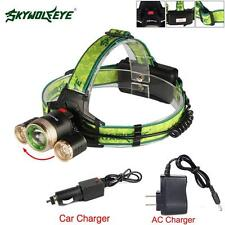 Skywolfeye 32000 LM  T6 3 LED USB Head Light Zoomable Lamp +Car/AC Charger MT