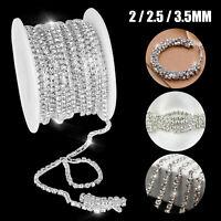 10 Yard Crystal Rhinestone Close Chain Trims Sewing Craft Jewelry DIY 2/2.5/3mm