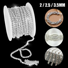 10 Yard Crystal Rhinestone Close Chain Trims Sewing Craft Jewelry DIY 2/2.5/3mm