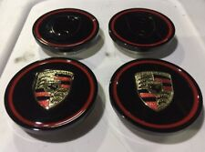 Porsche Wheels Center Caps Black And Red Made By Aluminum 60-61 Fit OEM 4 Pcs