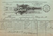 Letterhead Receipt Coal Creek Coal Company Coal Creek Fraterville Thistle TN