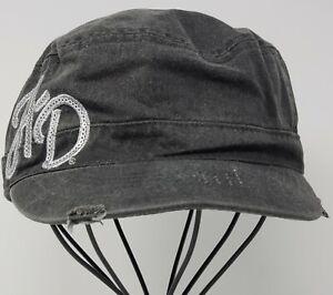Harley Davidson Womens Hat Adjustable Newsboy Cap HD Charcoal Black Distressed