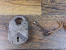 RUSTIC 65MM S.G.M &W Aligarh India Bank Lock 4 Lever Padlock w/Skeleton Key #2