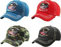 Vintage Distressed GOD BLESS AMERICA  Hat Baseball Cap - KBETHOS - Pick a Color