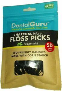 DentalGuru  Eco Friendly Charcoal Infused Peppermint Floss (Tooth) Picks 50 ct