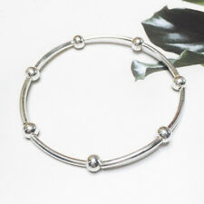 Solid 925 Sterling Silver Shine Elastic Stretch Bead Ball Noodle Tube Bracelet