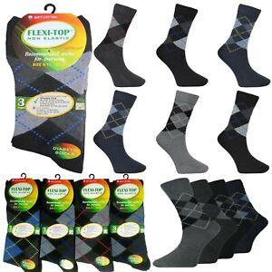 Mens Non Elastic Socks Diabetic Swollen Ankles Loose Soft Top Suit Argyle Socks