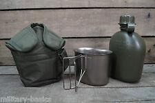 US Feldflasche Trinkflasche mit Edelstahl Becher Molle Tasche oliv Gen. 1