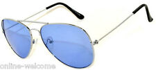 COLORED BLUE LENS AVIATOR STYLE METAL SUNGLASSES SILVER FRAME SHADES 99% UVB UVA