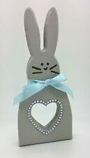 Hecho a mano madera Gema Gris Conejo Bunny Figura Navidad Decoración Shabby Chic Casa