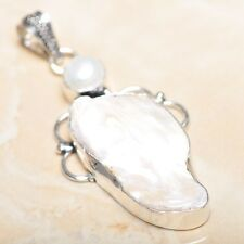 "Sterling Silver Pendant 2.5"" #P14604 Handmade Rainbow Natural Biwa Pearl 925"