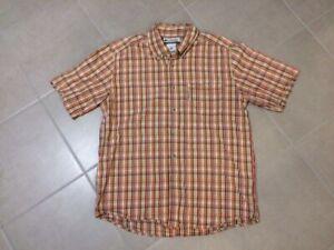 Chemise COLUMBIA carreaux beige et orange taille M à manches courtes