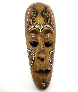 Hand Carved Wooden Mask  Collectible Wall Decor Painted Birds