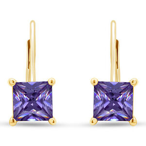 4 Ct Square Princess Amethyst 14K Yellow Gold Over Lever Back Stud Earrings