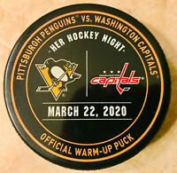 Penguins vs Capitals Official Warm-Up Puck 03/22/20 - Pandemic Game Not Played!