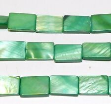 """MP718f Green 15mm Flat Rectangle Mother of Pearl Gemstone Shell Beads 15"""""""