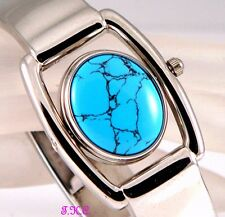 Rare Vintage Deco Genu Turquoise Gemstone Fob Silver Spinner Bangle Cuff  Watch