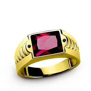 Mens Ruby Ring in 10K SOLID YELLOW GOLD Fine Gemstone Ring for Man all sizes