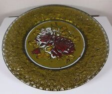 Antique Gold Painted Goofus Pressed Glass EAPG Plate with Red Roses 8 3/4 Inches