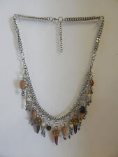 FREE PEOPLE NECKLACE MULTI COLOR HORNS CHARMS BEADS ARTSY SILVER METAL #312