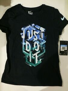 Nike Girls JUST DO IT Black Athletic Cut T Shirt New Medium AQ6916