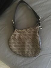 FENDI Zucca Brown Leather Oyster Bag Handbag  with Silver Hardware