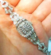 Omega lad'ys diamond & solid 900 platinum watch Bracelet Marquise Baguette Round