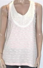 Katies Designer Pink Natural Stripe Lace Sleeveless Top Size M BNWT [st21]