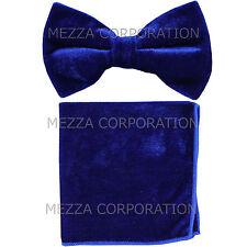 New in box Vesuvio Napoli men's pre tied Bow tie & Hankie Velvet Royal Blue