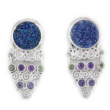 Offerings Sajen Ss Caribbean Druzy, Amethyst, Peridot & Iolite Clip-On Earrings
