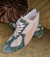 VINTAGE PUMA GREEN KHAKI POINTED TOE RUNNING SHOES SNEAKERS 7 M KICKS LADIES