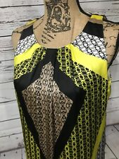 Dana Buchman Dress $68 Yellow Black White Sleeveless Floral Size Small