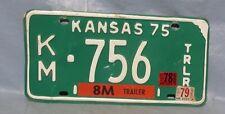 1975 KM 756 Alum. Kansas Trailer License Plate Tag Automobilla Man Cave Garage