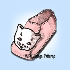 Vintage Kitty Cat Child's Slipper Pattern ~ sizes 4, 5, 6, 7, 8, 9, 10, 11, 12