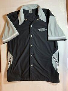 Air Jordan Wings Retro Button Warm Up Jacket Mens Size M Medium Black Rare