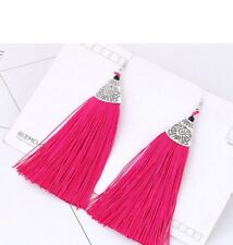 Antique Silver Style Crimson Pink Pair of Polyester Tassel Dangle Earrings# B337