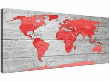 Grandes Rojo Gris Mapa del Mundo Atlas LONA pared arte impresión de 120 cm de ancho - 1300